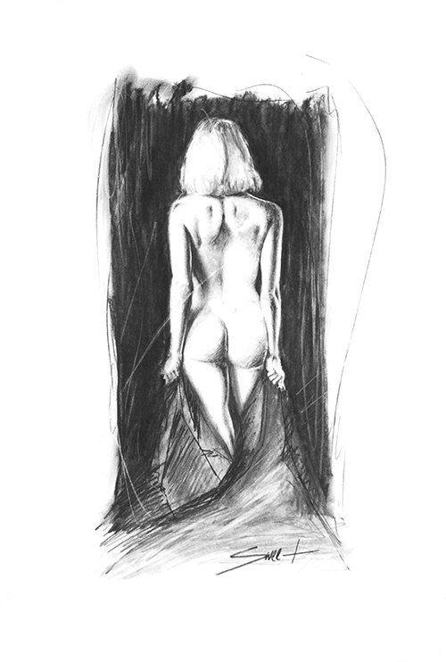 Erotic charcoal drawings