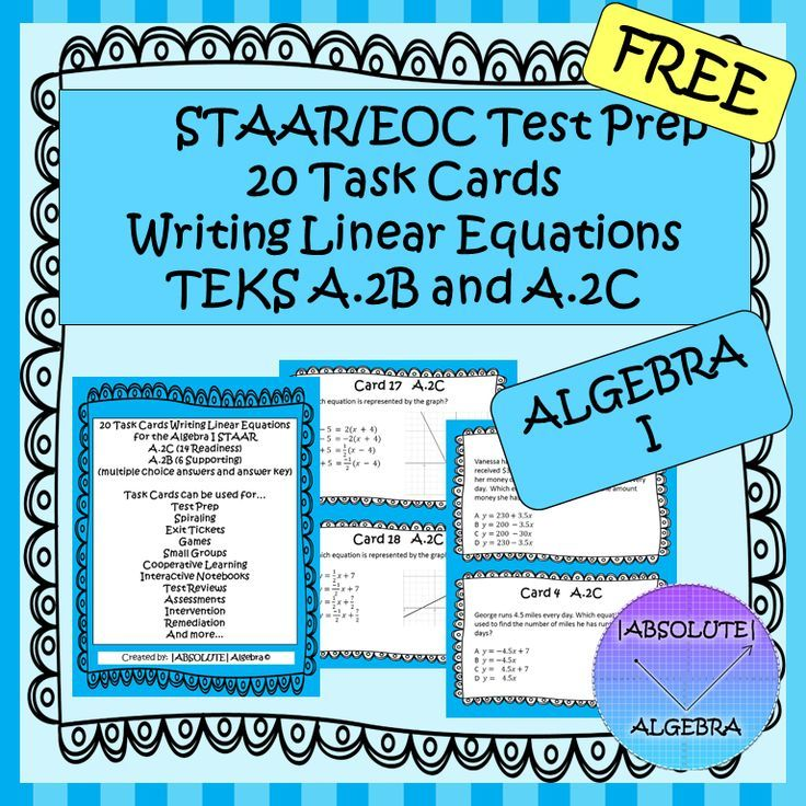 STAAR/EOC Test Prep 20 Task Cards Writing Linear Equations TEKS A.2B ...