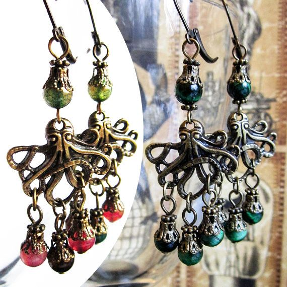 Octopus Earrings, Steampunk Earrings, Octopus Steampunk Jewelry, Gemstone Tiger's Eye or colorful Quartz, Dangling Earrings