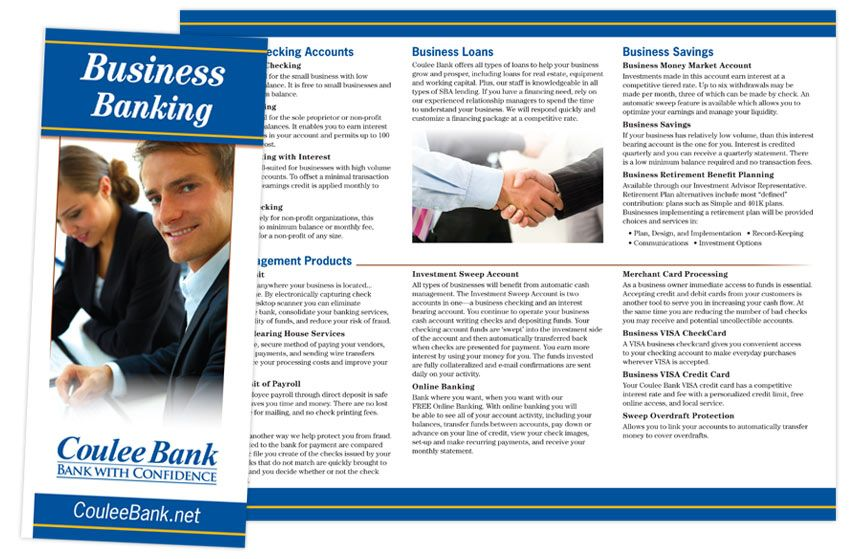Coulee Bank Business Banking Brochure | Brochures by The BLÜ Group ...