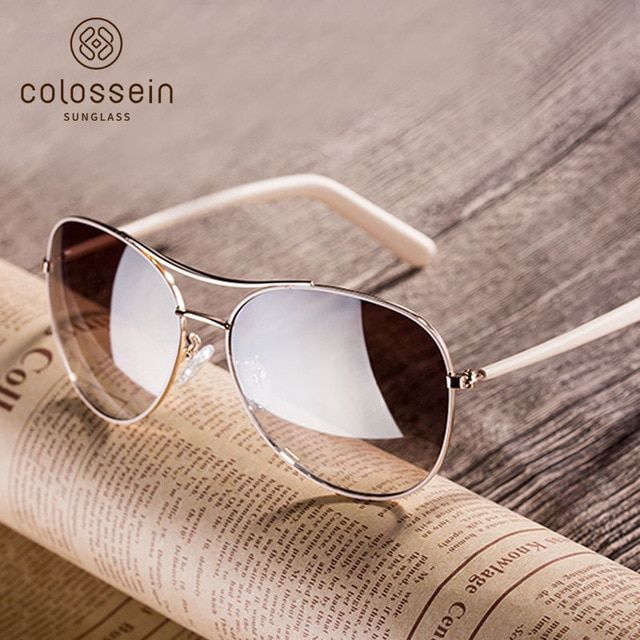 bb799169c42 COLOSSEIN Fashion Sunglasses Women Style Light Gold Frame Classic Fishing  Females Glasses 2018 Summer For Women
