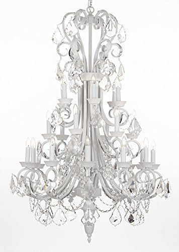 "Large Foyer / Entryway White Wrought Iron Chandelier Lighting 50"" Inches Tall With Crystal! - A84-B12/WHITE/724/24"
