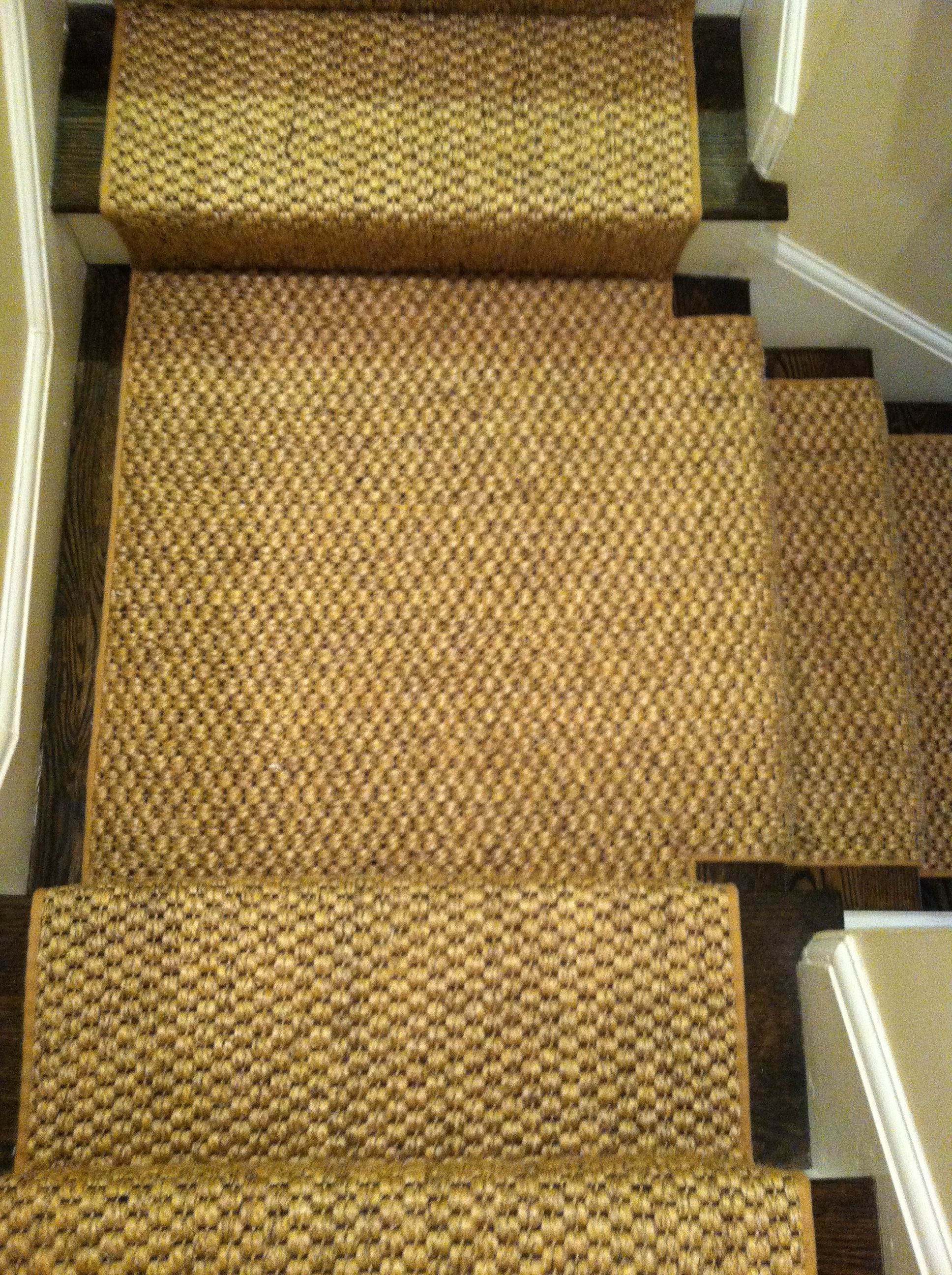this sisalcarpet remnant was fabricated into a custom stair runner and installed in dedham