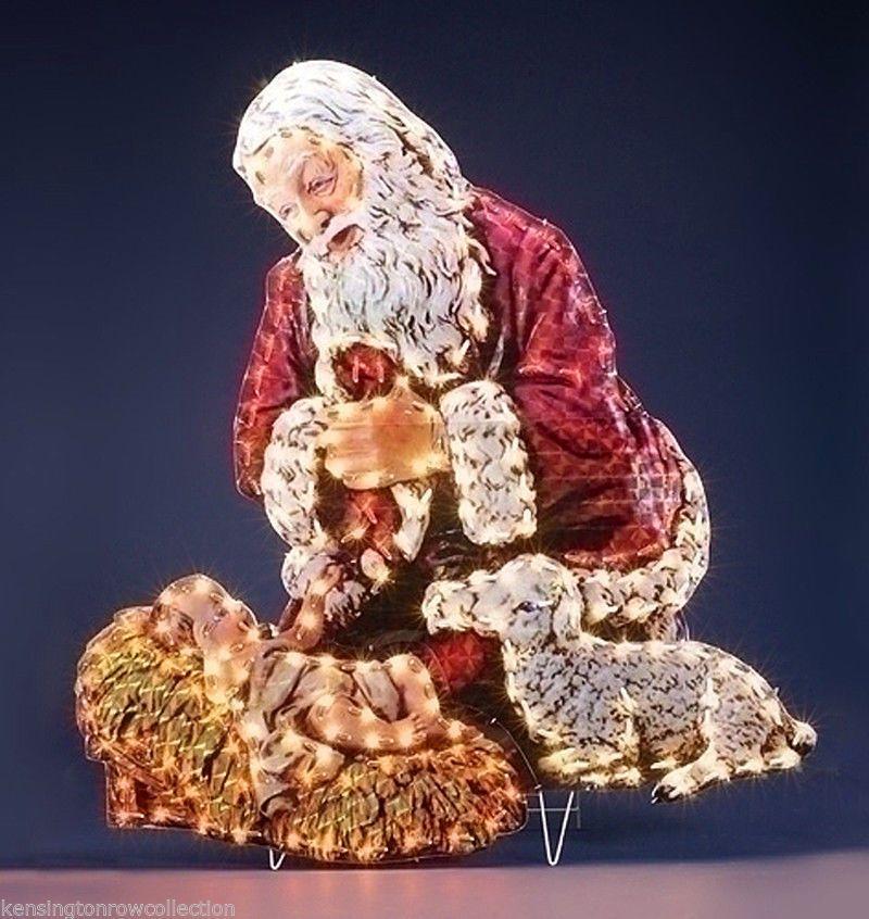 Outdoor Christmas Decor Kneeling Santa Baby Jesus Yard