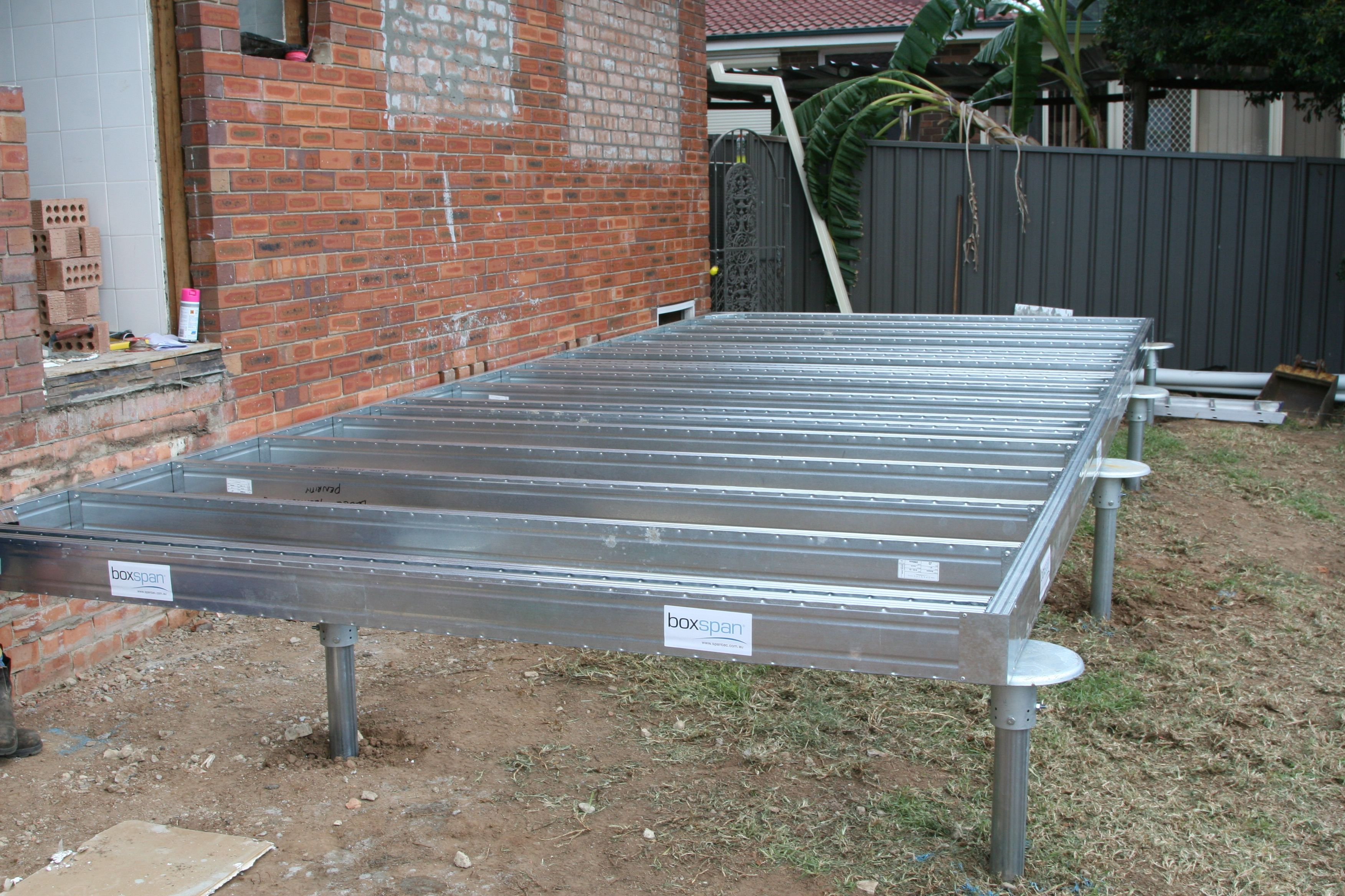 Extension mobili ~ The first of two prefabricated boxspan floor frames installed