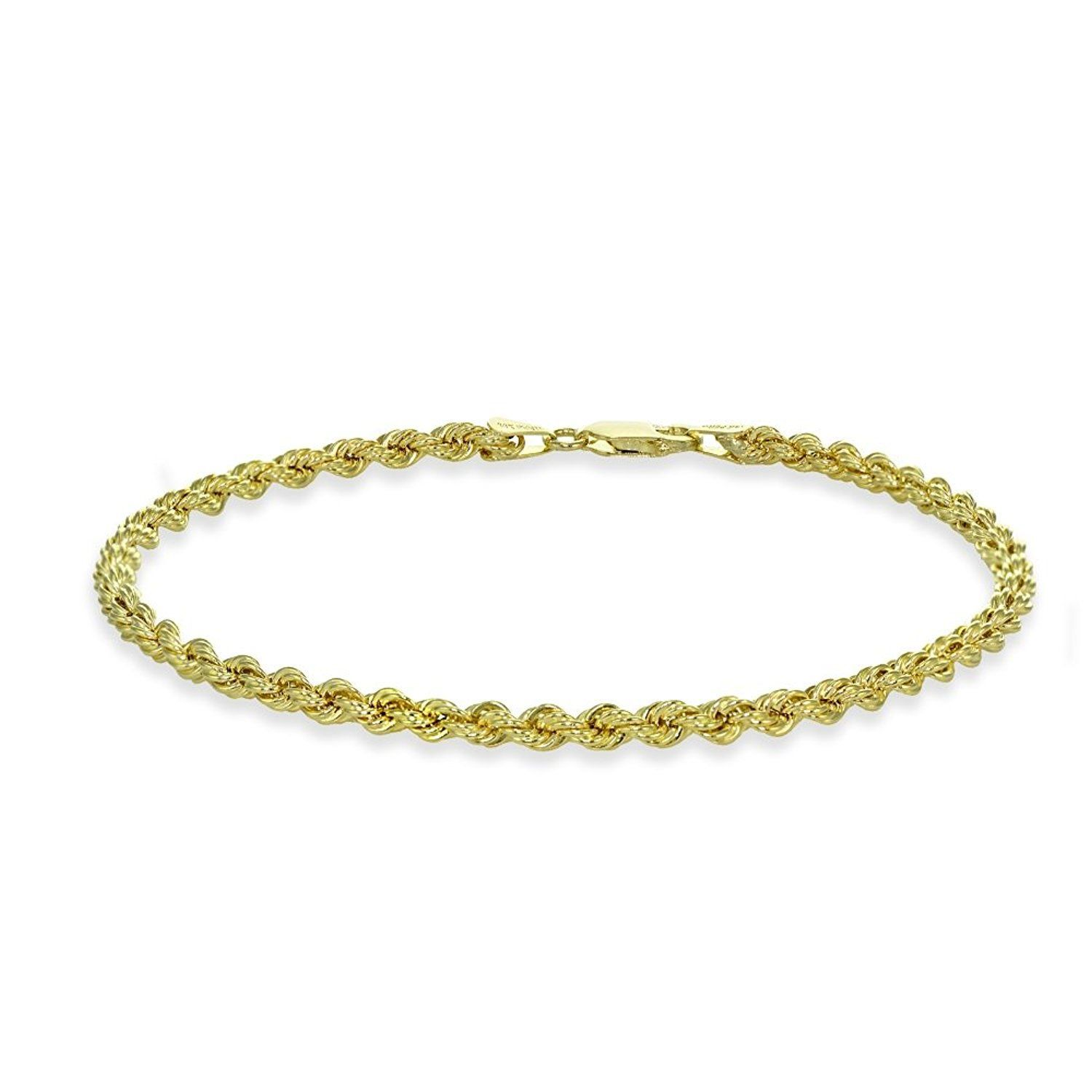 K yellow gold mm hollow twist rope chain bracelet anklet or
