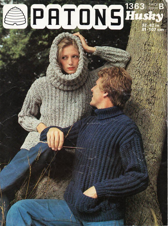 Vintage Womens Mens Rib Sweater Knitting - Post