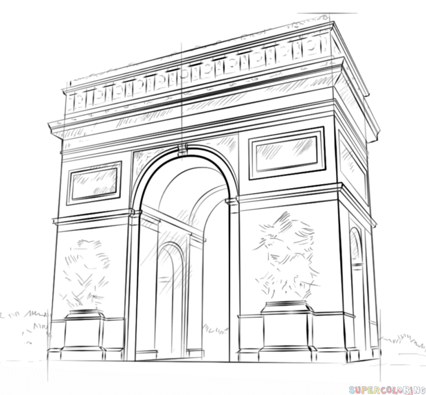 How to draw the Arc de Triomphe step by step. Drawing