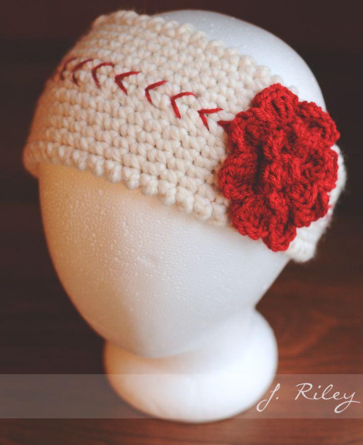 Crochet Baseball Ear Warmer Inspiration photo only.   crochet beanie ...