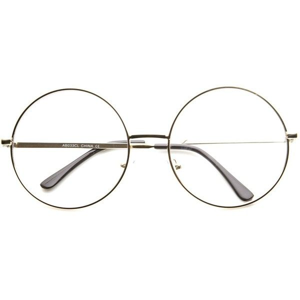 1920 S Vintage Era Large Round Metal Clear Lens Glasses 8714 9 99 Liked On Polyvore Featuring Acces Vintage Eye Glasses Clear Round Glasses Circle Glasses