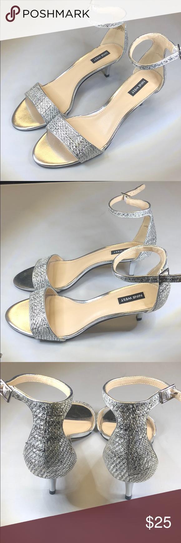 P254 Nine West Heel Sandals Silver Silver 8 5m Sandals Heels Nine West Heels Kitten Heel Sandals
