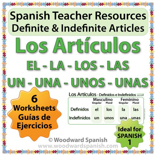 Spanish Articles Worksheets Definite And Indefinite Woodward Spanish Definite And Indefinite Articles Spanish Teaching Resources Spanish Teacher Resources