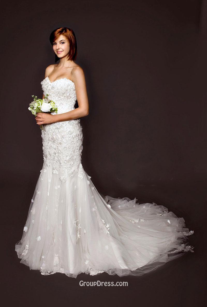 Strapless Sweetheart Neck Mermaid Spring Tulle Wedding Dress - Imgur