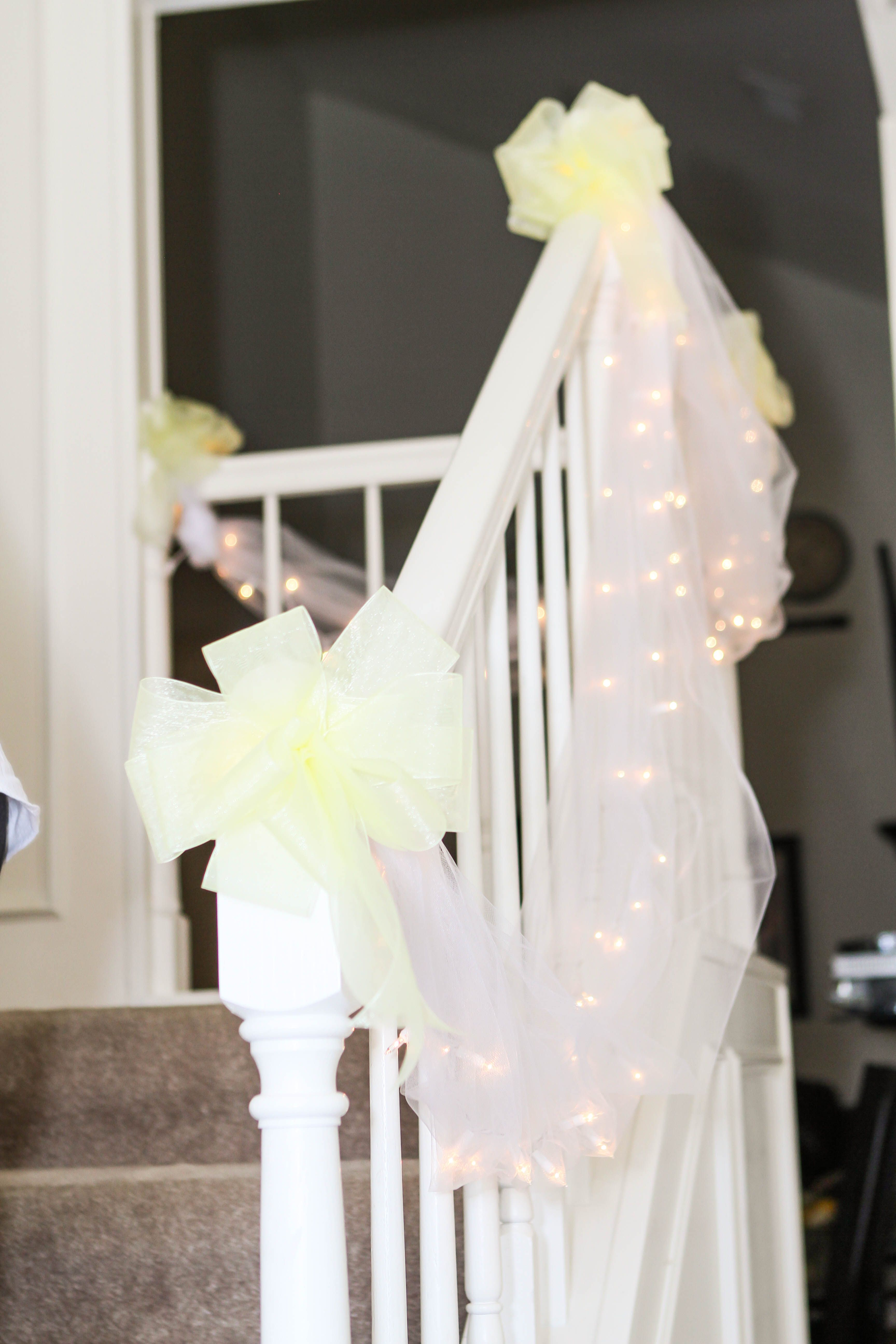 Home wedding decorations, stairs | Mom\'s Backyard Wedding ...