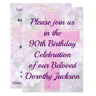 LOVELY PINK CROSS 90TH BIRTHDAY INVITATION Beautiful And Joyous 90th Birthday Invitations Zazzle Collections Invitat