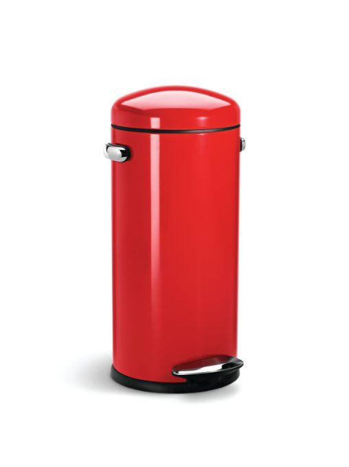 Simplehuman Round Retro Pedaalemmer 30 L Wit.Amazon Com Simplehuman Round Retro Step Trash Can Red