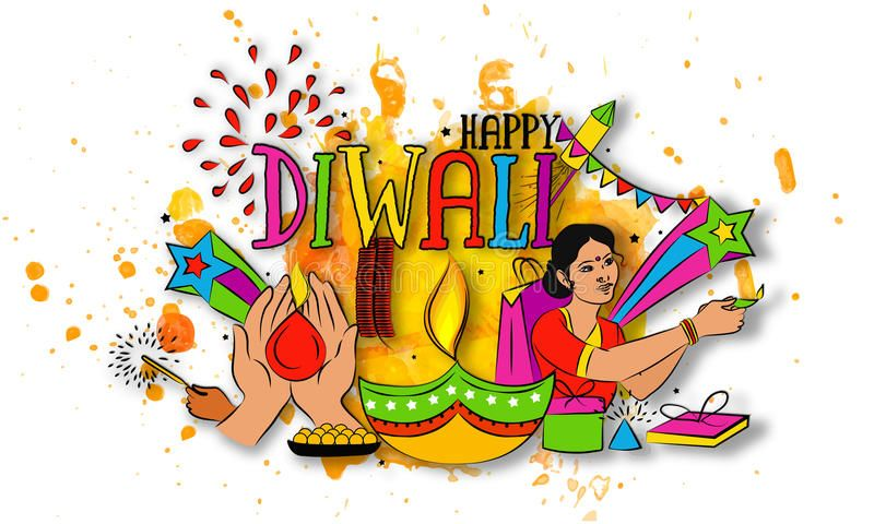 Colourful Elements For Diwali Celebration. Stock Illustration - Illustration of flyer, hinduism: 76361552