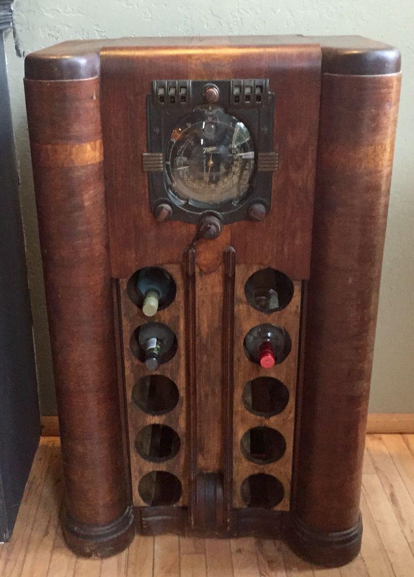 Old Radio Repurposed Into A Wine Bottle Holder Antique Radio Cabinet Antique Radio Vintage Wine Rack