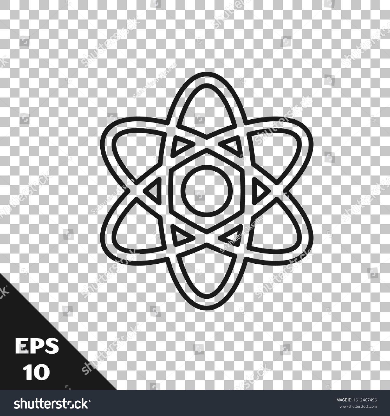 Black Line Atom Icon Isolated On Transparent Background Symbol Of