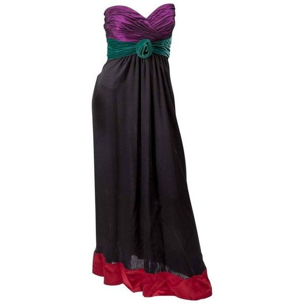 Preowned Vintage Oscar De La Renta Strapless Evening Gown ($1,450 ...