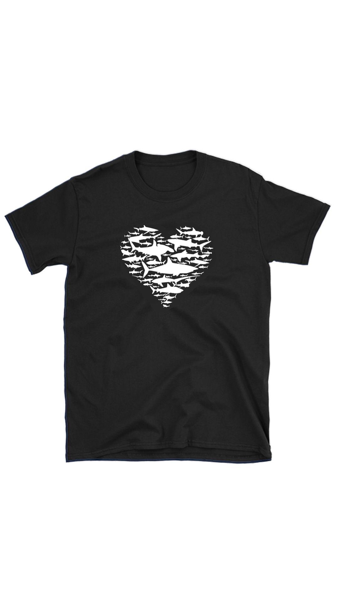 af5c68e1 (t-shirt shark, shark lover, t-shirt shark heart, white shark unisex tshirt,  shark lover, cotton tee, ocean design)