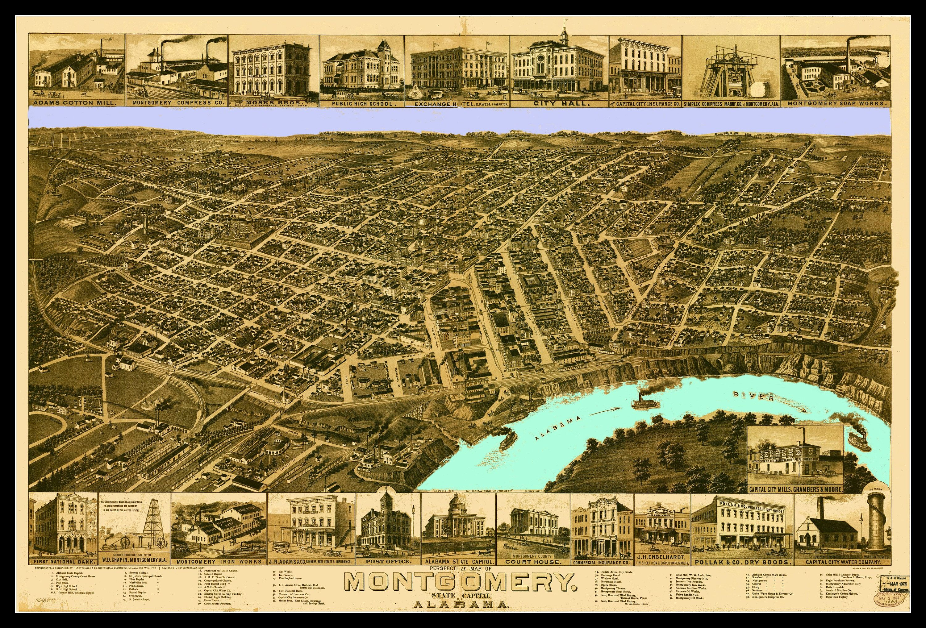 Montgomery Alabama Map dated 1887.. This print is a wonderful wall ...