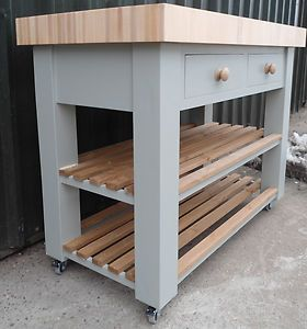 Butchers Block Bloc Island Trolly Beech And Hand Painted