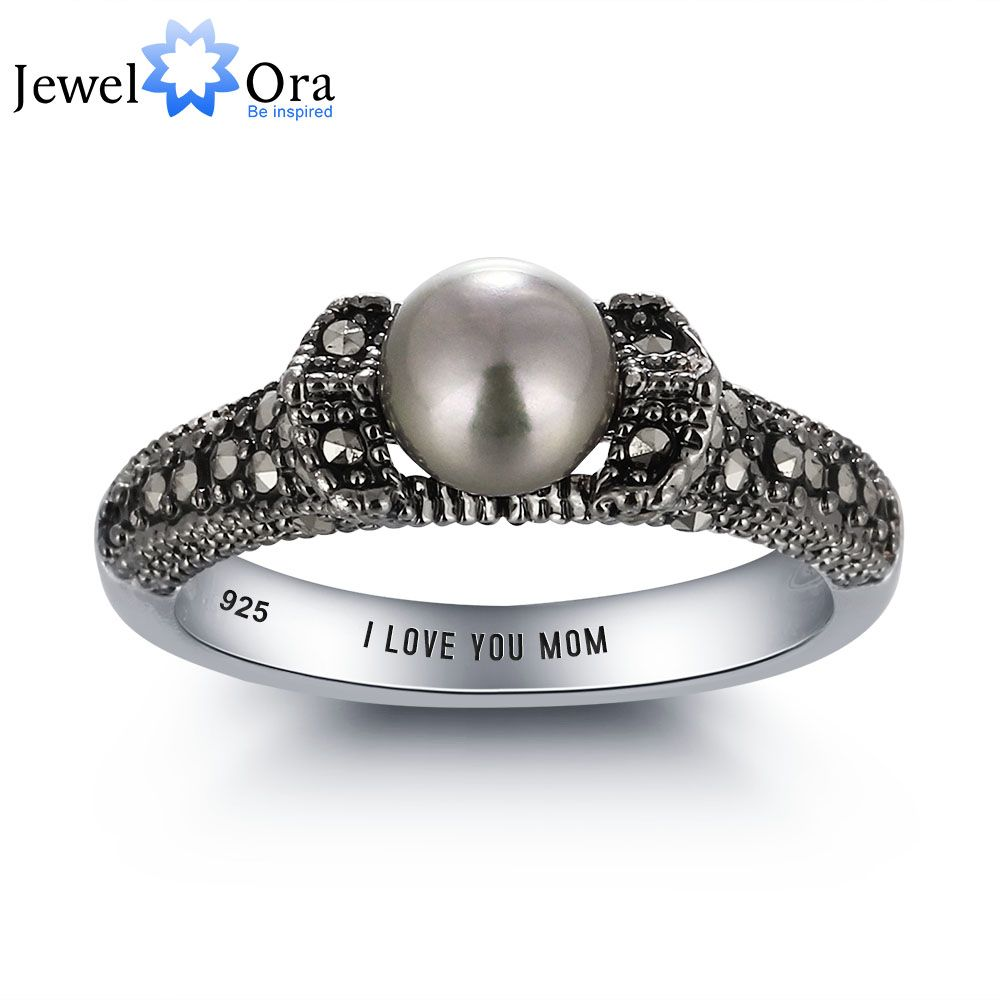 925 Sterling Silver Mother of Pearl Solitaire Ring Jewelry Gift for Women