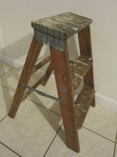 Vintage 2 Step Ladder Old Wooden Folding Step Stool 25