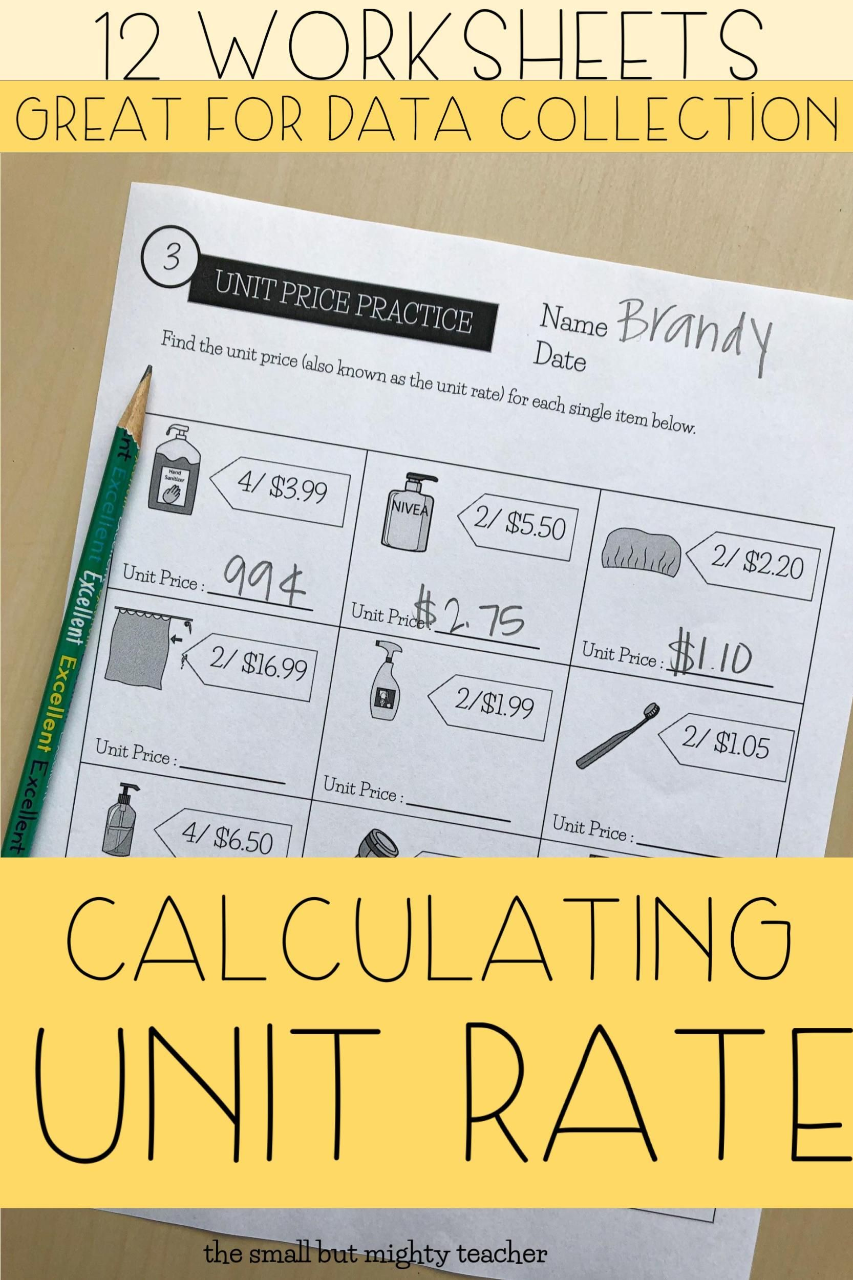 Unit Price Worksheets In