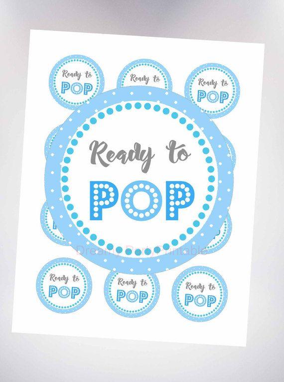 Ready To Pop Sticker Blue Por DreamyPartyPrintable