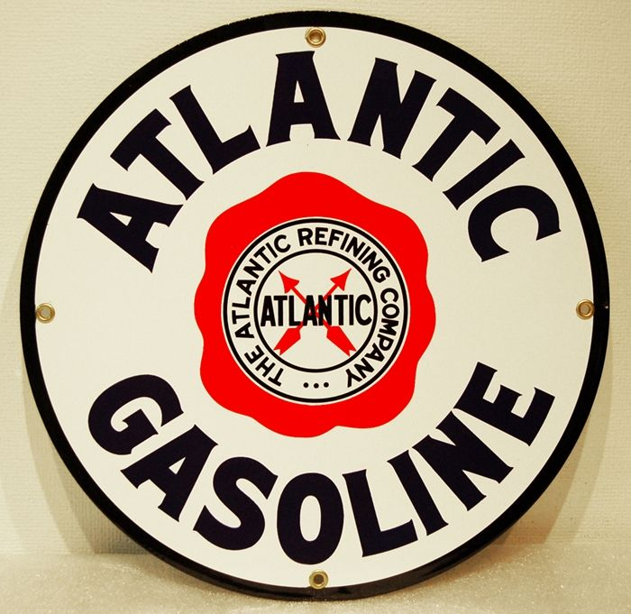 Atlantic Gasoline sign  $20 00 Shop now at www gaspumpheaven com! is part of Metal signs -