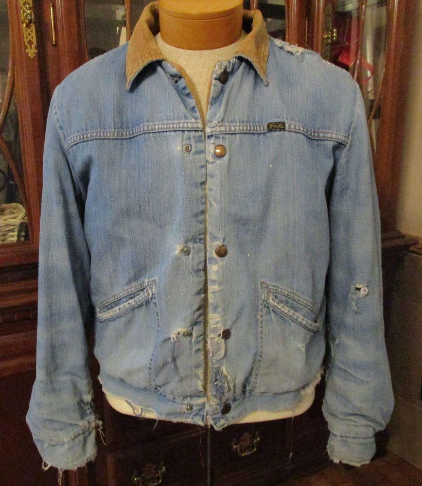 Ragged Worn Vtg Wrangler Sherpa Lined Denim Jean Jacket Corduroy Collar Mens 44 Wrangler Jeanjacket Ragged Jeans Jean Jacket Denim [ 1000 x 868 Pixel ]