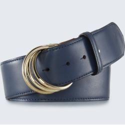 Photo of Wide leather waist belt in navy windsor