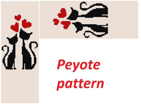 This is a peyote pattern cat inlove Here is 47 rows and length 6.85nch Colors 3 The PDF file includes: 1. A bead legend (color and numbers of beads needed) 2. The pattern preview 3. A large, detailed, numbered graph of the pattern. 4. Word chart Pattern in English in the form of PDF file and file includes also suggestions for material. You find your PDF file in the Your Purchases section on Etsy after payment. No exchange cause it is impossible. The instruction is for personal use only. ...