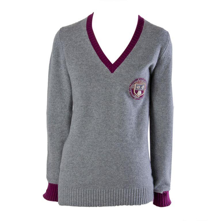 Chanel V-neck Heather Grey w/Maroon Trim Cashmere sweater