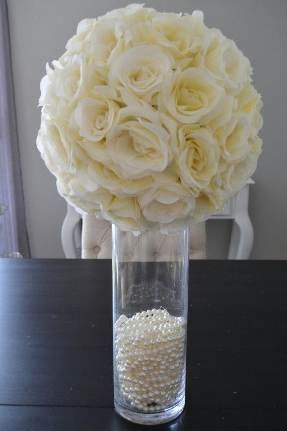 14 ivory cream elegant wedding silk flower ball by kimeekouture rh pinterest com