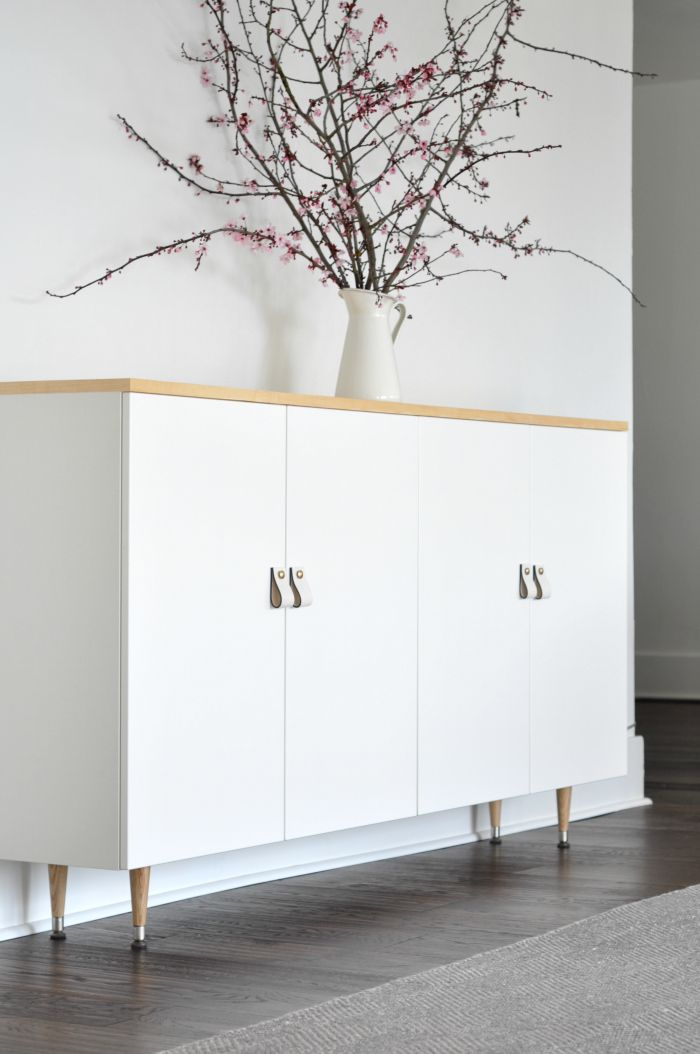 So Worth It To Add A Bright White Modern Buffet Credenza The Dining Room