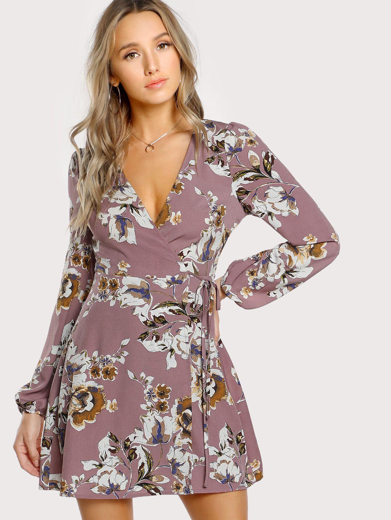 Shop Surplice Wrap Floral Dress Online Shein Offers Surplice Wrap Floral Dress Amp More To Fit Your Fashio Floral Tea Dress Wrap Dress Floral Womens Dresses [ 1785 x 1340 Pixel ]