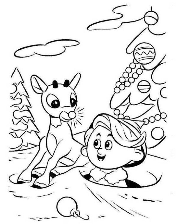 Rudolph Reindeer And Hermey Coloring Page Rudolph Coloring Pages Kids Christmas Coloring Pages Christmas Coloring Pages