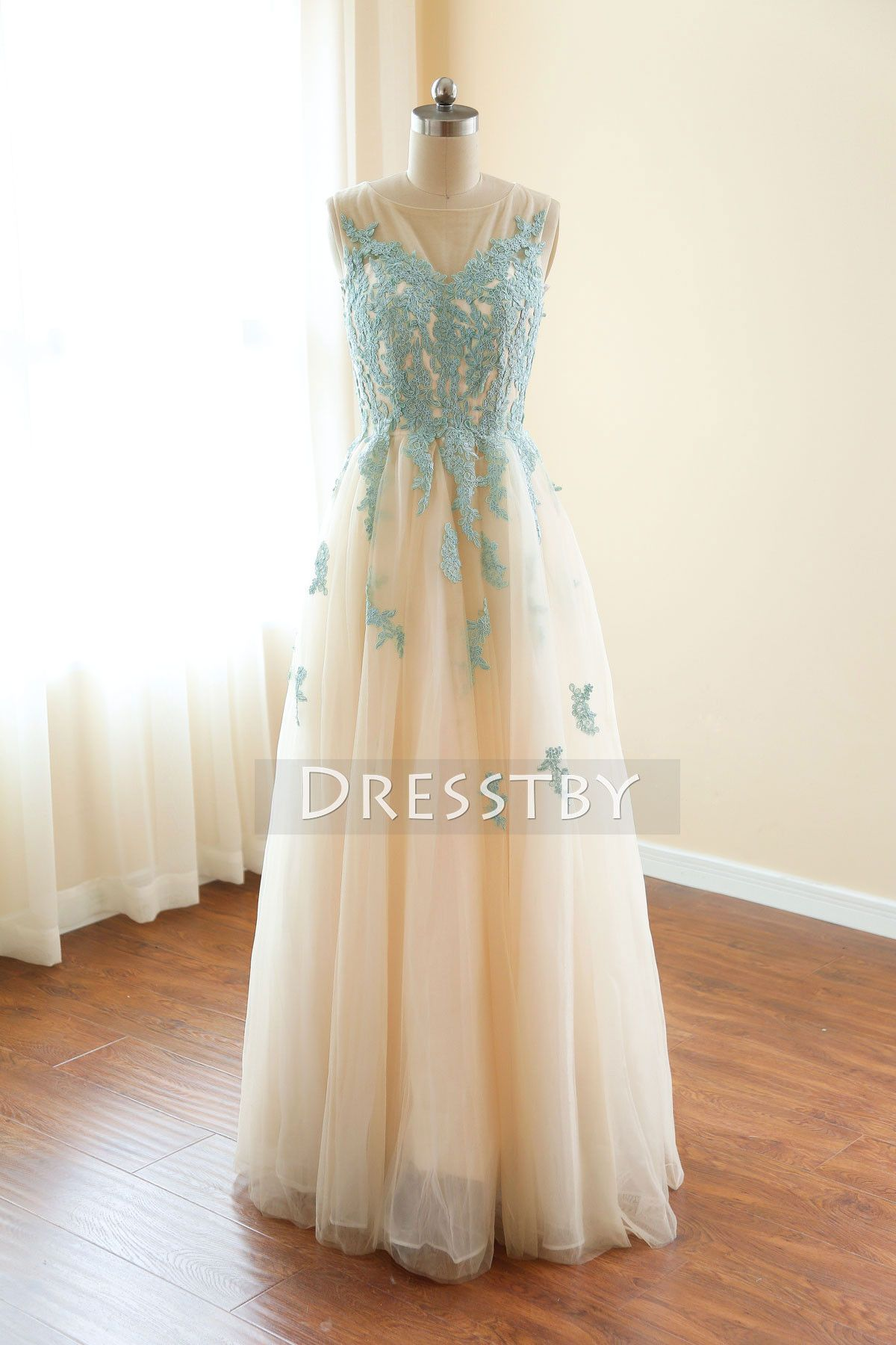 Aline round neck tulle lace long prom dress cute formal dress a