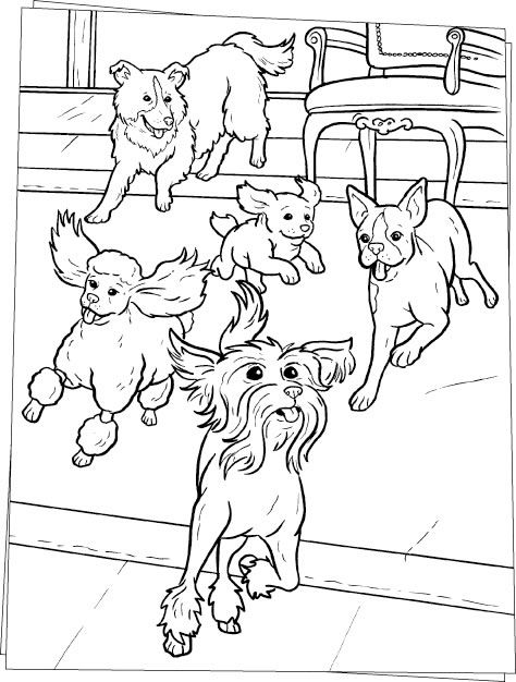 Dog Color Pages Printable Running Dogs Coloring Page Movie Hotel