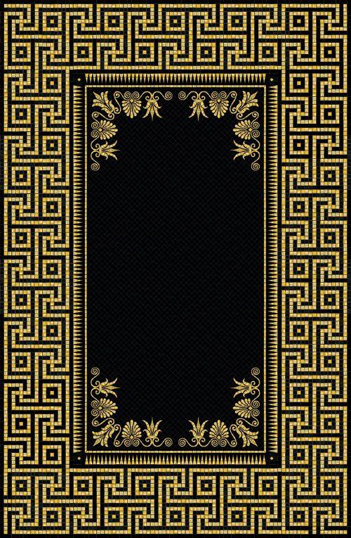 Black Amp Gold Carpet With Greek Border 92 5 Quot X 60 5 Quot Glass