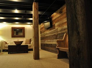 Painted Basement Ceiling And Rustic Post Cover Basement Fix Up Pinterest