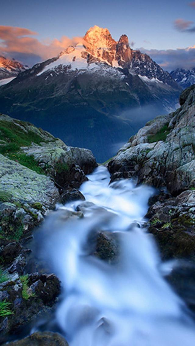 Waterfalls, Mountain, Nature