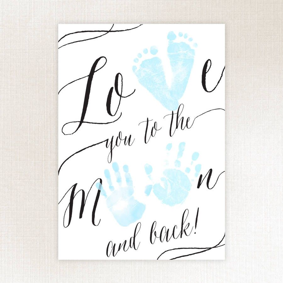 Love you to the moon baby keepsake moon craft and babies for Hand and feet painting ideas