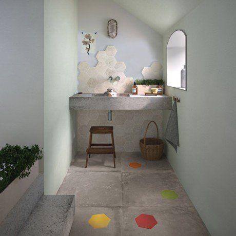 Carrelage sol et mur taupe effet béton Harlem l60 x L60 cm Salle