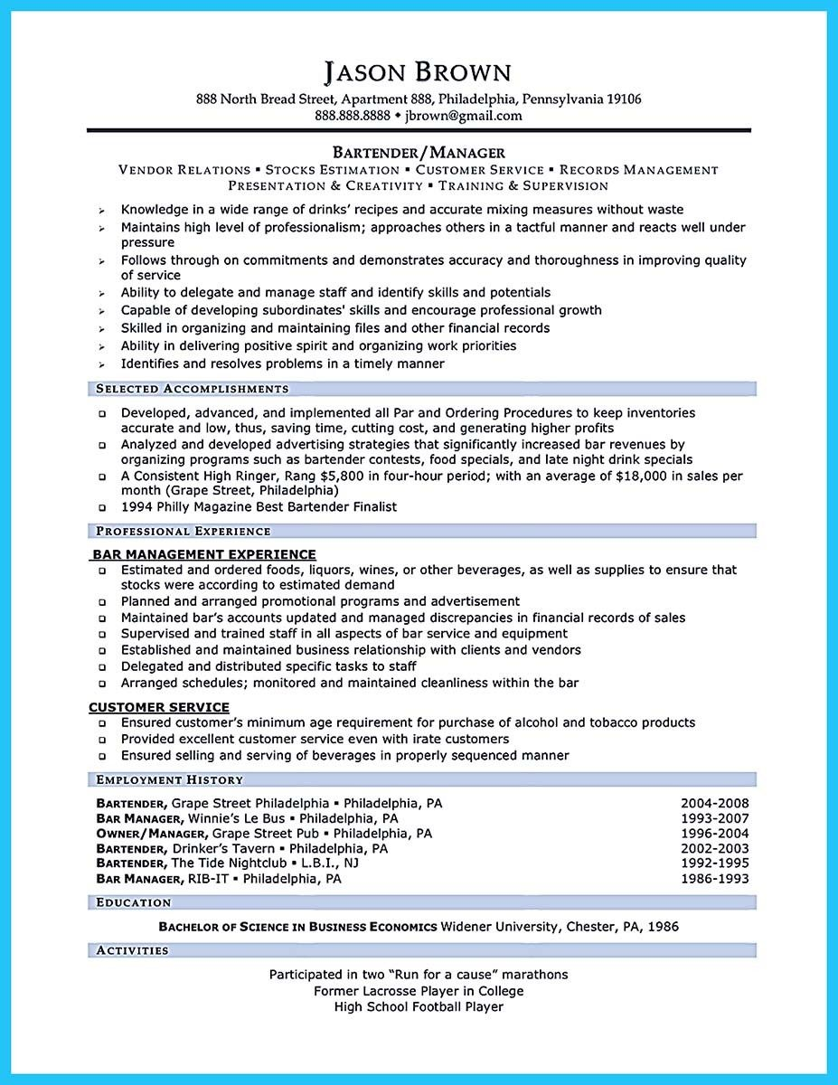 Awesome Outstanding Details You Must Put In Your Awesome Bartending Resume Check More At Http Snefci Org Outstan Resume Examples Resume Skills Server Resume