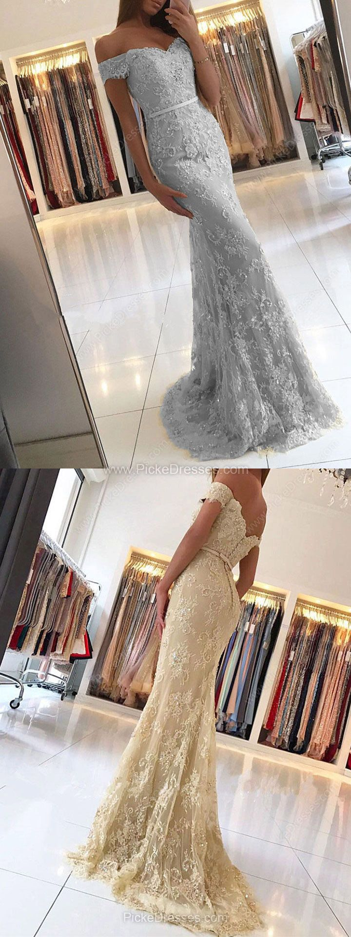Lace prom dressestrumpetmermaid prom dresses offtheshoulder