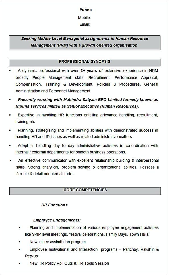 Human Resource Management Sample Resume , HR Manager Resume Sample ...